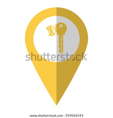 Key car - vector icon;  yellow map pointer - stock vector
