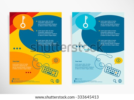 Key icon on chat speech bubbles. Modern flyer, brochure vector template - stock vector