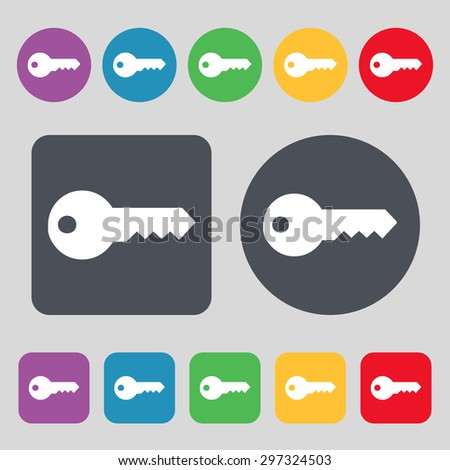 key icon sign. A set of 12 colored buttons. Flat design. Vector illustration - stock vector