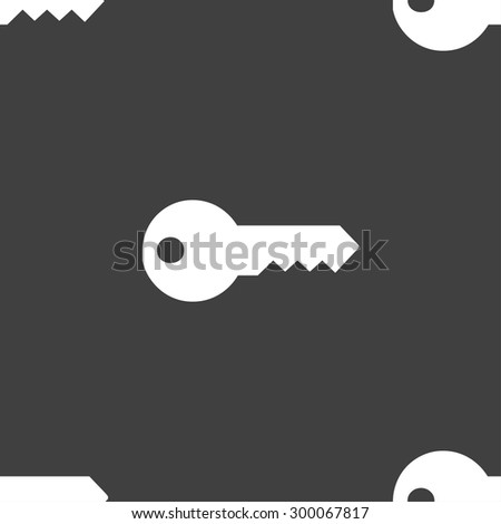 key icon sign. Seamless pattern on a gray background. Vector illustration - stock vector
