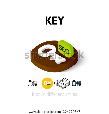 Key icon, vector symbol in flat, outline and isometric style - stock vector