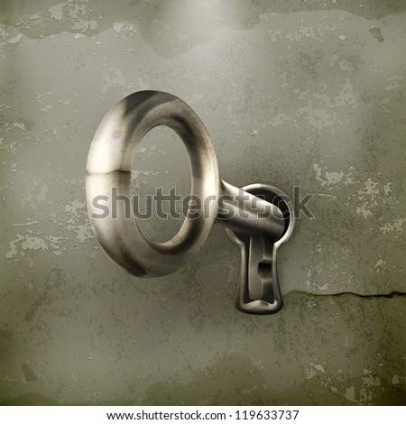 Key in keyhole, old-style vector - stock vector
