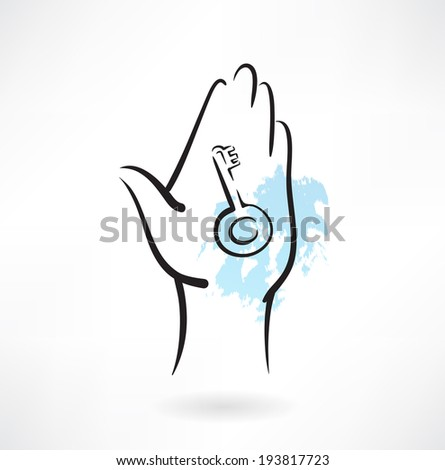 key in the hand grunge icon - stock vector