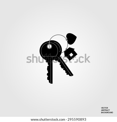 Key. Keys to the thumb. Rental of property. Buying a property. For rent. The key to the heart. - stock vector