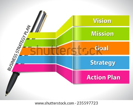 key of  business strategy plan colorful  info graphic with pen and labels flat design - vector eps10 - stock vector