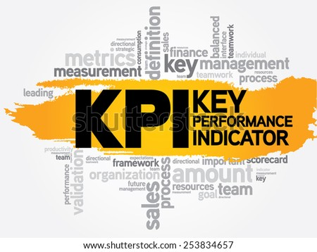 Key Performance Indicators word collage, KPI Business Concept - stock vector