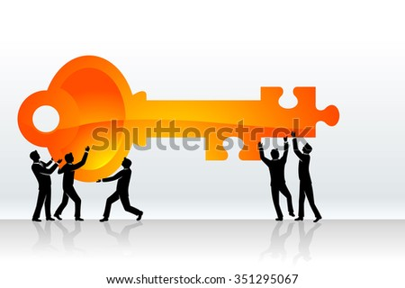 Key Solution-Business team holding huge puzzle key - stock vector