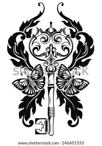 Key tattoo - stock vector