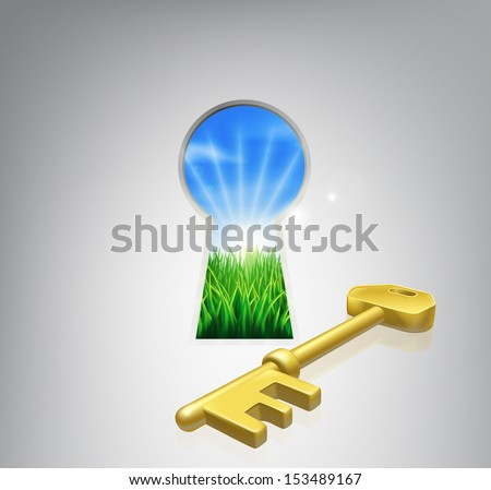 Key to happiness conceptual illustration of an idyllic sunrise over fields seen through a keyhole with a golden key. Could be used in self help or improvement or motivational context. - stock vector
