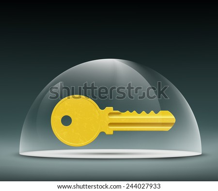 key to the lock under a glass dome - stock vector
