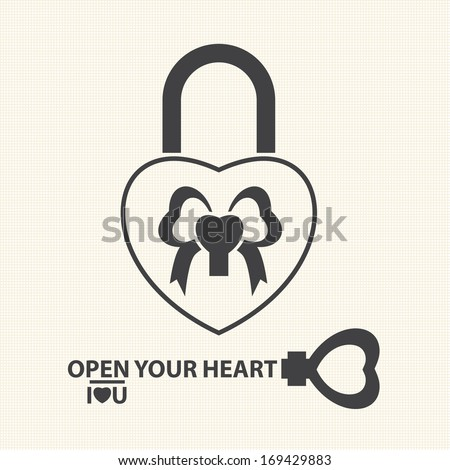 Key with a heart inside and lock as heart. Vector of Valentine's Day - stock vector
