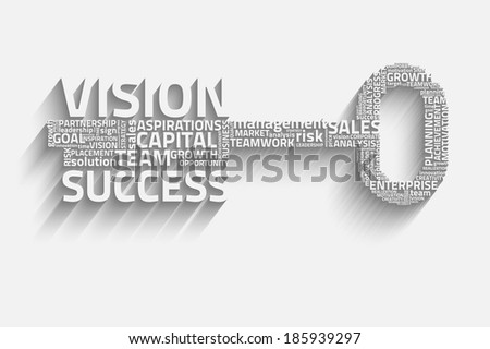 key with business words, growth eps10 vector concept - stock vector
