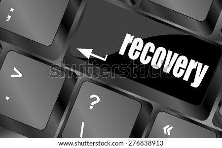key with recovery text on laptop keyboard button vector - stock vector