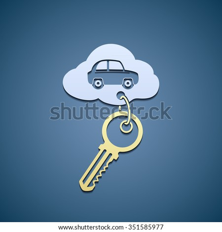 Key with trinket from the car. Flat graphics. Stock vector illustration. - stock vector