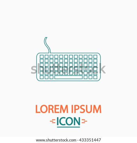 Keyboard Flat thin line icon on white background. Vector pictogram - stock vector