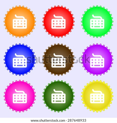 keyboard icon sign. A set of nine different colored labels. Vector illustration - stock vector