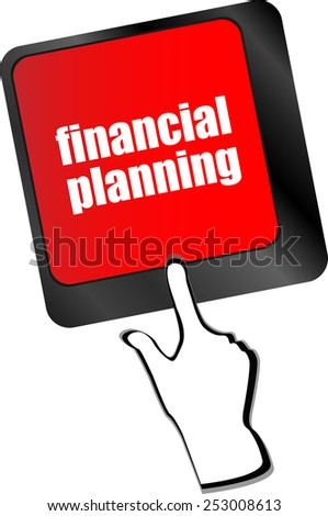 keyboard key with financial planning button - stock vector