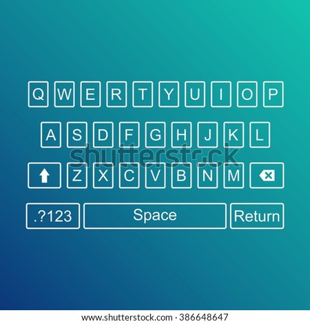 Keyboard of smartphone, alphabet buttons. Qwerty Vector illustration - stock vector