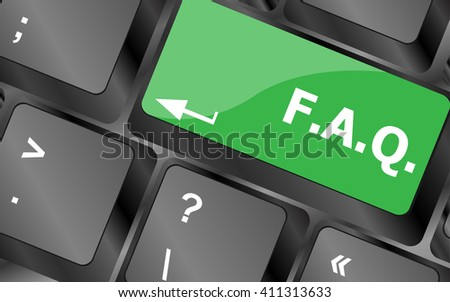 keyboard with faq button - business concept. Keyboard keys icon button vector - stock vector