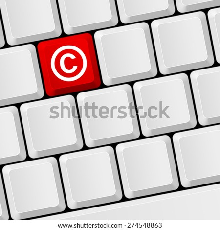 Keyboard with icon copyright. Legal and license, ownership and patent - stock vector