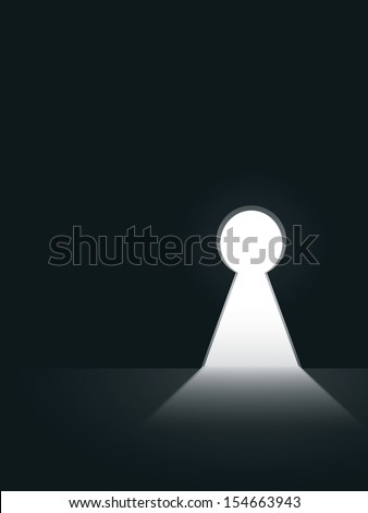 Keyhole in the wall vector illustration with black background - stock vector