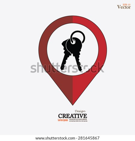 Keys Icon.key.map pointer with key icon. vector illustration. - stock vector