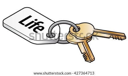 Keys to life concept. Two brass keys on key ring with a white tag. - stock vector