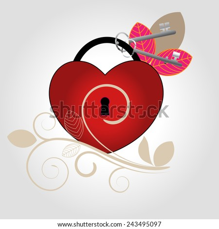 Keys to my Heart with flourish  - stock vector