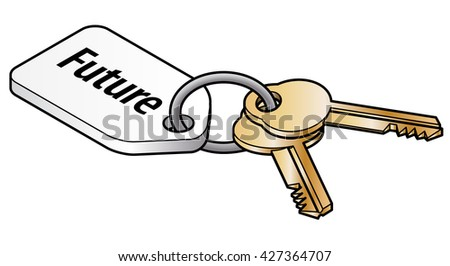 Keys to the future concept. Two brass keys on key ring with a white tag. - stock vector
