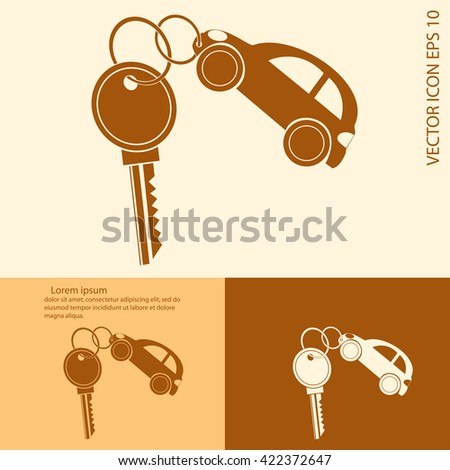 Keys with car shaped keyholders - stock vector