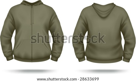 Khaki zipper hoodie with front pocket. VECTOR, contains gradient mesh elements. More clothing designs in my portfolio! - stock vector