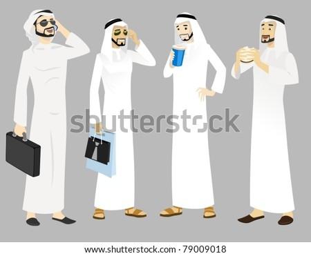 Khaliji Men Icons In Standing Positions-vector - stock vector