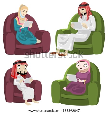 Khaliji People Using The Tablet/Pad-vector - stock vector