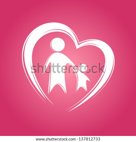 Kid and parent in heart icon. - stock vector