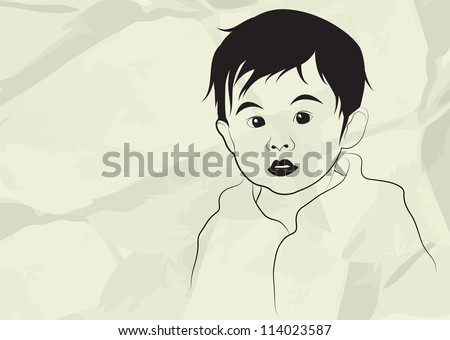 Kid, boy, child, in gray background, vector illustration - stock vector
