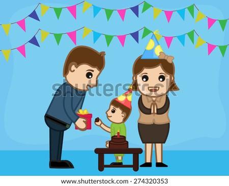 Kid Celebrating Birthday Anniversary - Cartoon Characters Vectors - stock vector