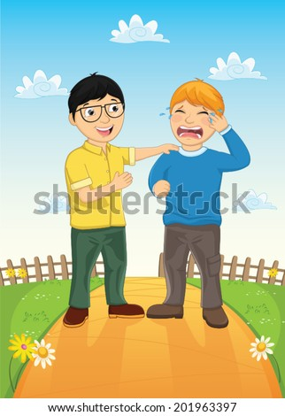 Kid Consoling Friend Vector Illustration - stock vector