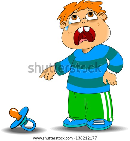 kid crying in the blue sweater because of a fallen pacifiers, illustration - stock vector
