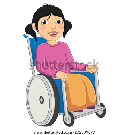 Kid Disabled Vector Illustration - stock vector