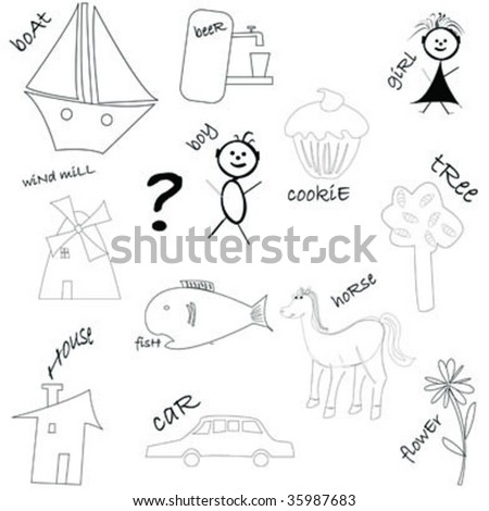 Kid drawings isolated on white - stock vector