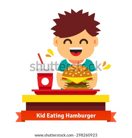 Kid eating hamburger and drinking at fast food table. Flat vector illustration isolated on white background. - stock vector