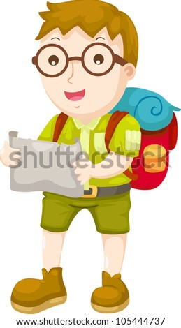 Kid Hiking vector illustration on a white background - stock vector