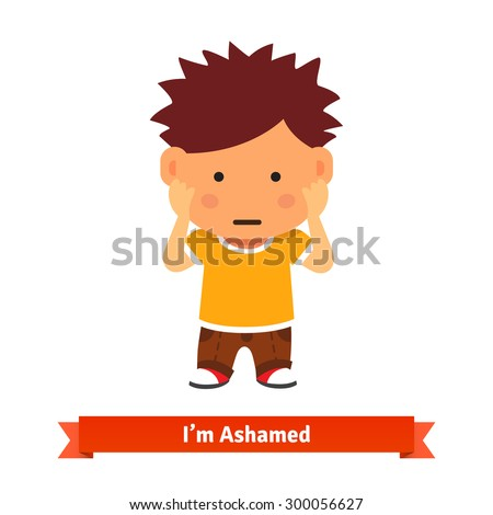 Kid holding his hands on face, could be scared, ashamed shy or playing. Flat style vector cartoon illustration isolated on white background. - stock vector