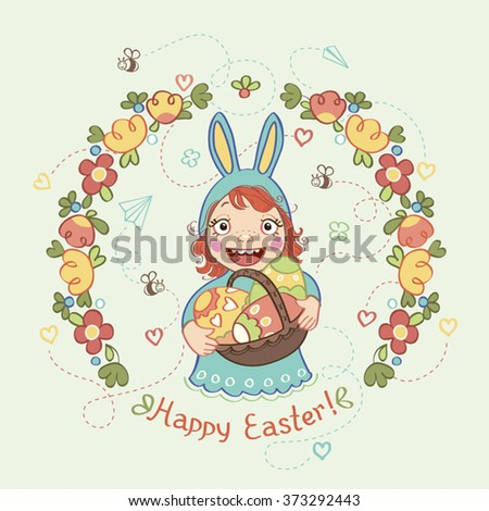 """Kid in a rabbit suit. Easter eggs, flower wreath, the words """"Happy Easter"""". - stock vector"""