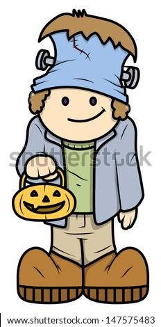 Kid in Halloween Costume - Vector Cartoon Illustration - stock vector