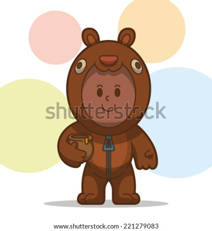 kid in the animal costume, bear, vector - stock vector