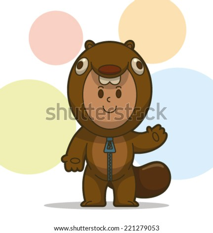 kid in the animal costume, beaver, vector - stock vector