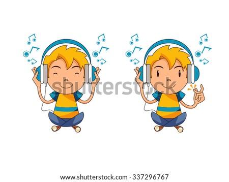 Kid listening to music, vector illustration - stock vector