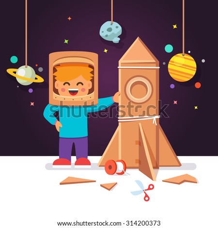 Kid making cardboard box rocket and astronaut costume helmet. Boy playing space exploration. Vector flat style isolated cartoon illustration. - stock vector