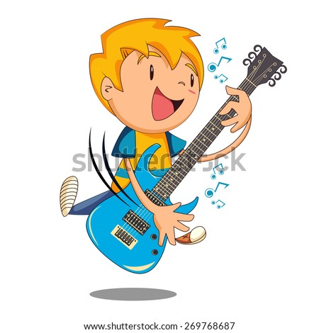 Kid playing electric guitar, vector illustration - stock vector